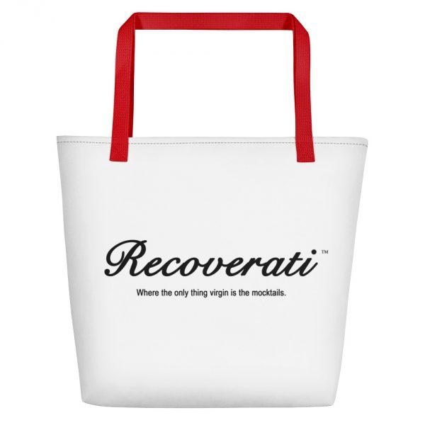 Recoverati white tote w/red handles
