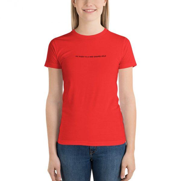 God Shaped Hole red t-shirt